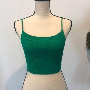 Oscar-St green ribbed crop tank top shirt